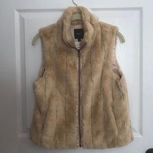 Vintage Express Tan Faux Fur Vest Size M